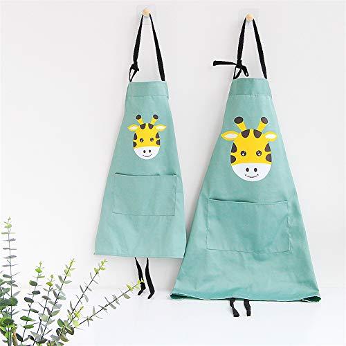 Lindong Süß Tier Schürze mit Tasche für Erwachsene Kinder Wasserdicht Baumwolle Leinen Küchenschürze Latzschürze Kochschürze Kinder Grün Giraffe