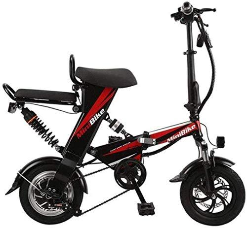 Woodtree Bicicleta Plegable eléctrica, for Adulto Mini eléctrica Plegable Bici del Coche Lhtweht y del Aluminio de aleación de Aluminio de la Motocicleta Viaje de Bicicletas, Rojo, Color: Negro