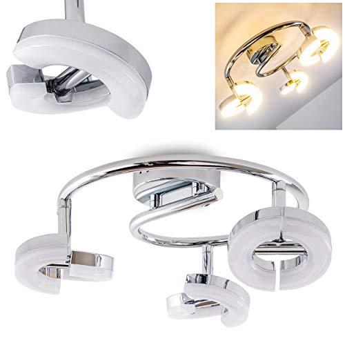 LED plafondlamp Paris, plafondlamp in chroom, 3 vlammen, met 3 verstelbare spots, 6 Watt elk, 420 Lumen (1260 Lumen totaal), lichtkleur 3000 Kelvin (warm wit)