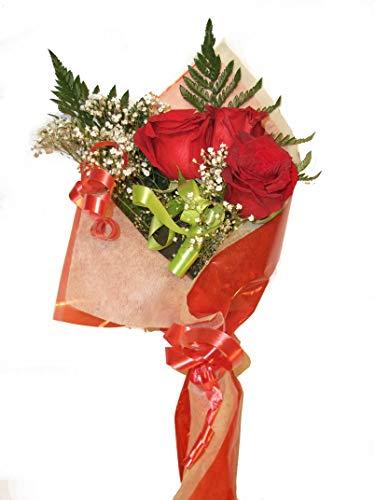 Ramo de rosas naturales a domicilio de tres rosas con envío y nota de