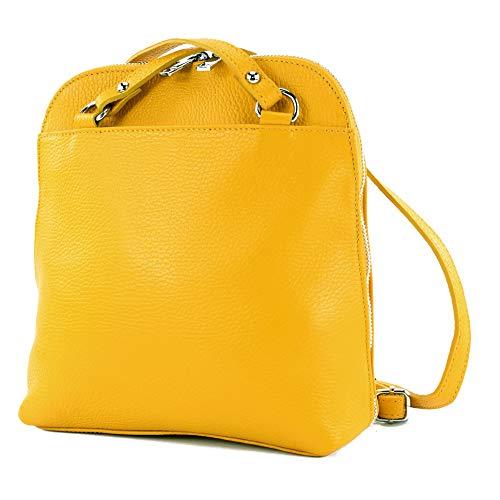 modamoda de - T208 - ital. Damen Rucksack Daypack aus Leder, Farbe:Sonnengelb