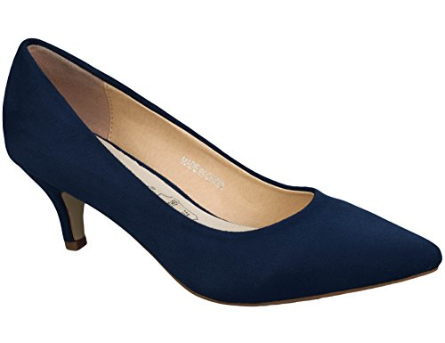Greatonu Spitz Pumps Nubukleder Kitten Absatz Pointed Toe Blau EU41