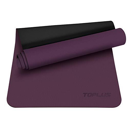 TOPLUS Preumium Yogamatte aus hochwertigen TPE, rutschfest Yogamatte Gymnastikmatte Übungsmatte Sportmatte für Yoga, Pilates,Fitness usw.-Weinrot&Schwarz