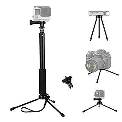 VVHOOY 37inch Waterproof Action Camera Selfie Stick+Universal Mini Tripod Stand Compatible with Gopro Hero 7/6/5/AKASO EK7000 Brave 4/APEMAN/Crosstour/Campark/Tenker/Cooau Action Camera by VVHOOY