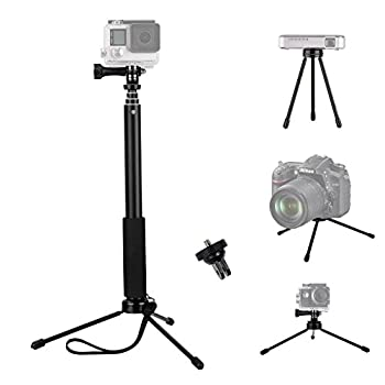 VVHOOY Selfie Stick with Tripod Stand,Compatible with GoPro Hero 9 8 7 6 5 4 3+ 3 Session/AKASO/Dragon Touch/OSMO ACTION/Insta360 Action Camera,37inch