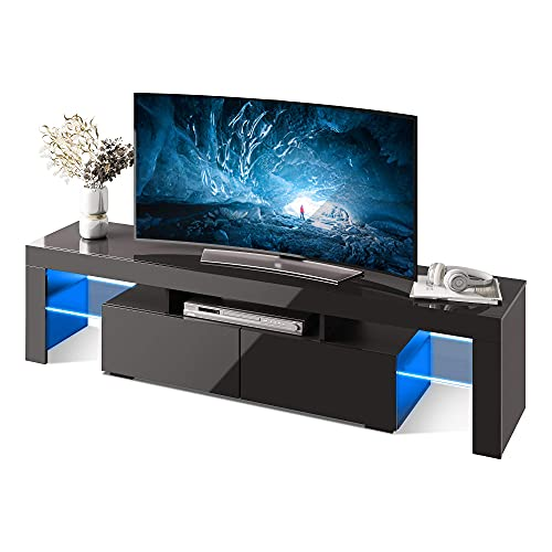 WLIVE Modern LED TV Stand for 60/65/70 Inch TVs with Color Change Lighting, Universal Entertainment Center for Video Gaming, Movies, and Home Decor, Clear Glass Shelving