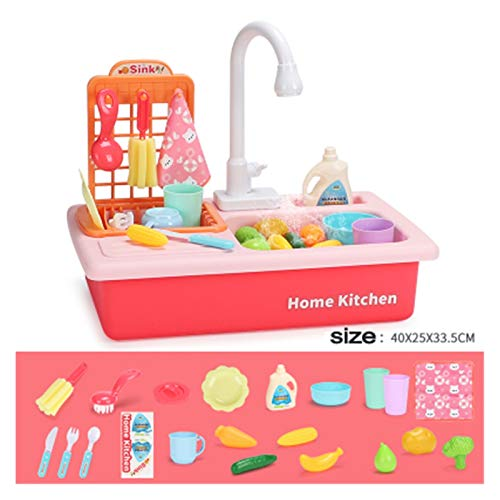 Letaowl Juguete de Cocina Paly Kitchen Toys Simulation Electric Lavavajillas Fregadero Fruta Freen (Color : Pin 22pcs)