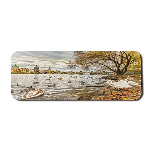 Ambesonne Landscape Mouse Pad for Computers, Prague Charles Bridge Old Town Czech Republic Riverside Scenic View with Swans, Rectangle Non-Slip Rubber Gaming Mousepad Large, 31' x 12', Multicolor