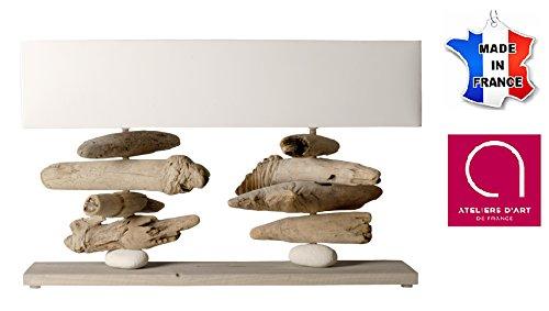Lampe à poser 2 tiges - Base 75 cm - Bois vieilli, bois flotté et galets - Fabriqué à la main en France