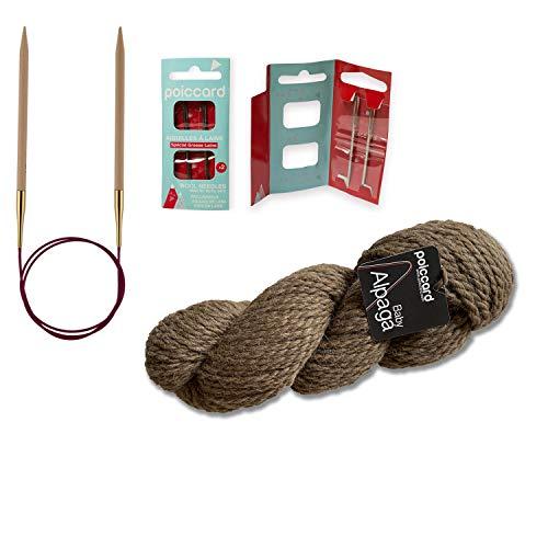 Pack de 1 madeja de lana Baby Alpaga 100 g + 1 par de agujas Knit Pro + 1 bolsa de 2 agujas de lana, color marrón castaño