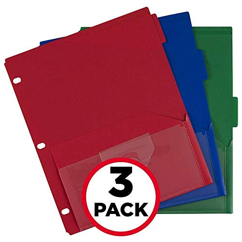 Five Star Binder Dividers, Flex, NotePocket, 3 Tabs, Colors Selected For You, 3 Pack (20016)