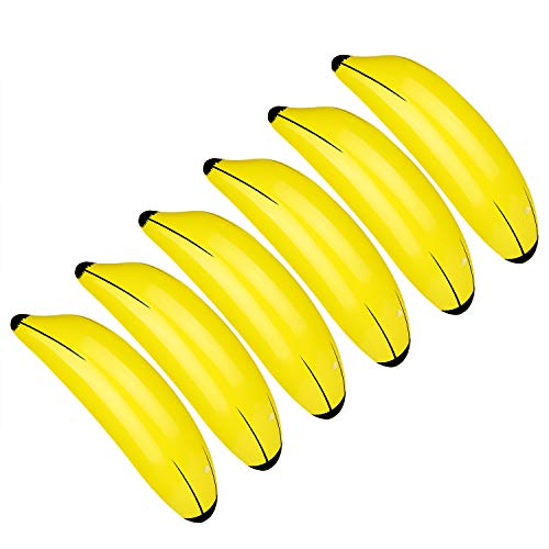 TUPARKA 6 PCS Giocattoli gonfiabili Gialli della Piscina delle Banane di per Il decration del Partito di Luau Hawai