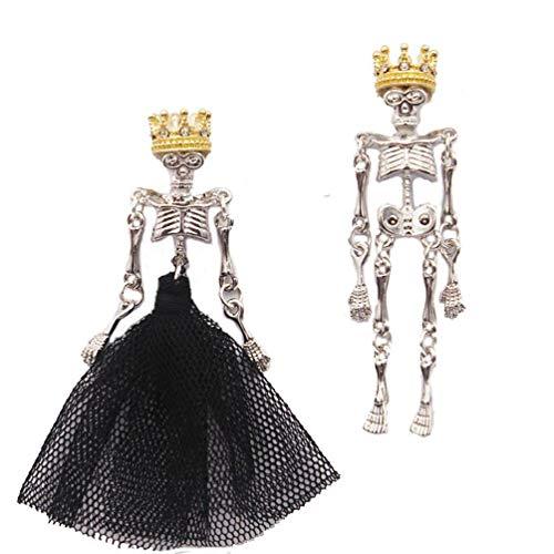 Pendientes góticos de estilo punk para boda, diseño de calavera, color negro, corona, rey, reina, asimétrico, calaveras, pendientes de joyería