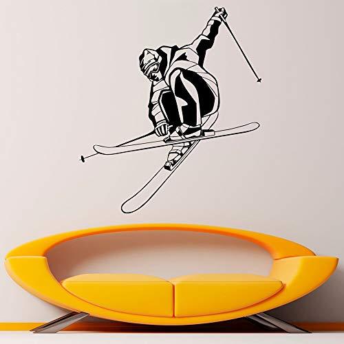 wZUN Snowboard Ski Wandtattoos Skifahrer Geschwindigkeit Wandaufkleber Vinyl Wohnkultur Schlafzimmer Wanddekoration Wandbild 63X55cm