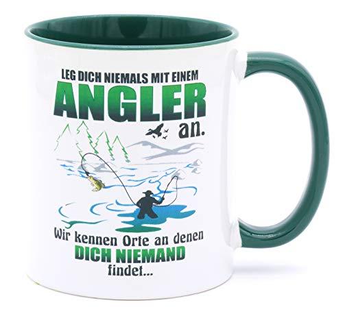 Leg dich nicht niemals mit einem Angler an Angeln Tasse Becher Angel Fischer Zubehör Angelzubehör Geschenke für Fischen Karpfen Norwegen Kaffeetasse Anglerzubehör mit Namen Fishing Männer Tassen
