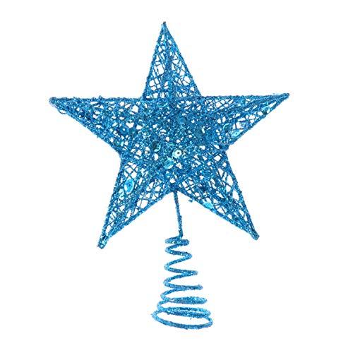 Amosfun - Puntale per albero di Natale in ferro con stella glitterata, Ferro, Blu, 20 cm