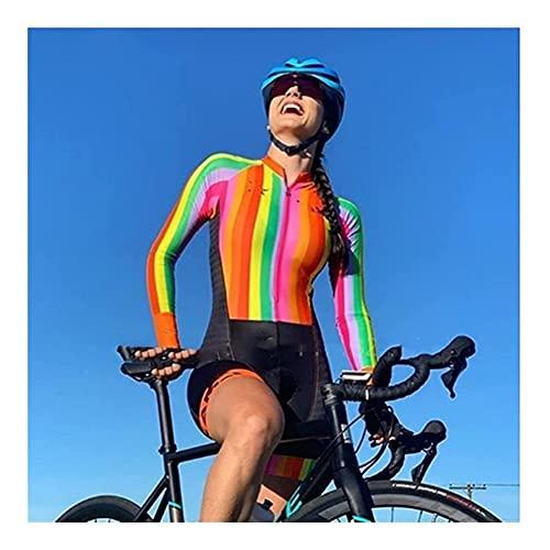 LYYJIAJU Ciclismo al aire libre Jersey Traje Traje de ciclismo Mujer, jersey de mujer vestido de una pieza de manga larga carrera de bicicleta triatlón ciclismo (Color : D, Size : XL)