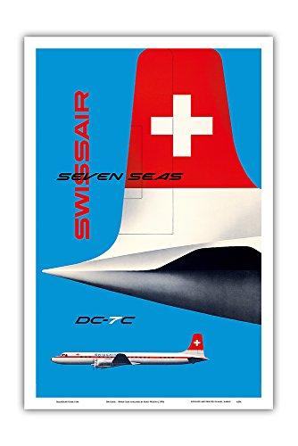 Pacifica Island Art Swissair - Langstrecken-Verkehrsflugzeug - Douglas DC-7C - Vintage Retro Fluggesellschaft Reise Plakat Poster von Kurt Wirth c.1956 - Kunstdruck - 31cm x 46cm