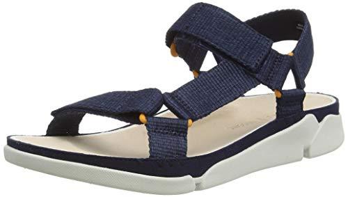 Clarks Tri Sporty, Sandali con Cinturino alla Caviglia Donna, Beige (Navy Textile Navy Textile), 37 EU