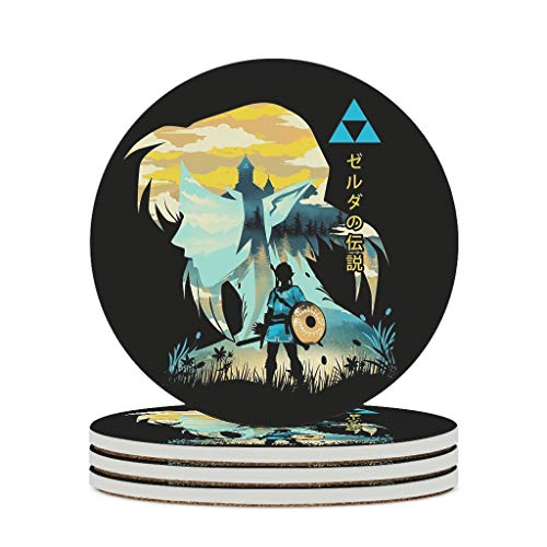 O5KFD&8 Posavasos de cerámica Zel-da duradero, base de corcho, posavasos para vasos modernos, para exteriores, color blanco, 6 unidades