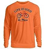 generisch Life is Good Go Places - Jersey Unisex para Bicicleta Naranja Mandarina. S