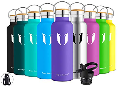 Super Sparrow Stainless Steel Vacuum Insulated Water Bottle, Double Wall Design,Standard Mouth - 500ml & 750ml - BPA Free - with 2 Exchangeable Caps + Bottle Pouch (Lavender, 500ml-17oz)