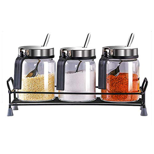 Transparent Glass Condiment Jar, 11oz Lead-free Glass Seasoning Box Set of 3, Spice Jar Kitchen Condiment Container Cruet with Lid and Spoon, for Salt, Sugar