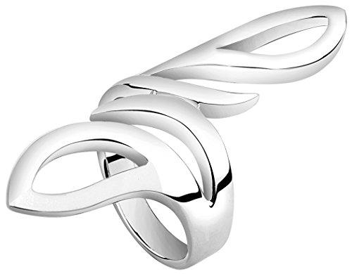Nenalina Damen Ring Silberring mit polierter Oberfläche im modernen Design, handgearbeitet aus 925 Sterling Silber, 312123-000 Gr.60