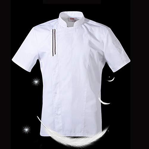 Sommer männlicher Chef weißes Hemd Koch Kostüm Küche Kochen Jacke Restaurant Uniform Barber Shop Berufsbekleidung Overalls,Weiß,L