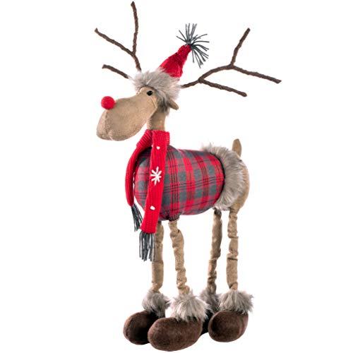 WeRChristmas - Figura Decorativa de Reno navideño (42 cm), diseño de tartán, Multicolor