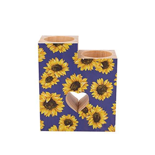 Juego de 2 portavelas de madera románticos con diseño de girasol floral sobre fondo azul marino decorativo en forma de corazón para boda, decoración del hogar, regalos...