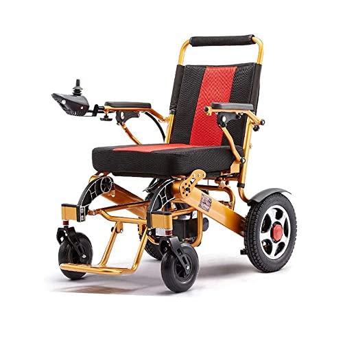 WBJLG Silla de Ruedas Multifuncional para Ancianos discapacitados, Silla de Ruedas eléctrica Plegable Ligera, 360% Giratorio, aleación de Aluminio, Adecuado para: Ancianos/discapacitados