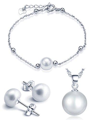 Juegos de Joyas- Yumilok Estilo de Perlas Collares & Pulsera & Pendientes para Mujer de Plata 925 y Perlas, 3 PCS