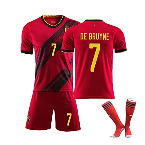 2021 Bélgica Hogar and Weew Football Jersey, No. 7 de Bruyne No. 9 Lukaku, Adulto y niños Set + Calcetines, Secado rápido y Tela Transpirable Red 7-22
