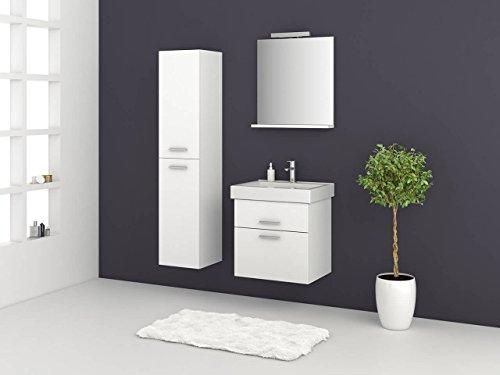 Jokey Badmeubelset Girona - 60 80 100 cm breed - hoogglans wit badkamermeubel wastafel met onderkast spiegel met verlichting en/of zonder hoge kast Sieper modern 60 wit