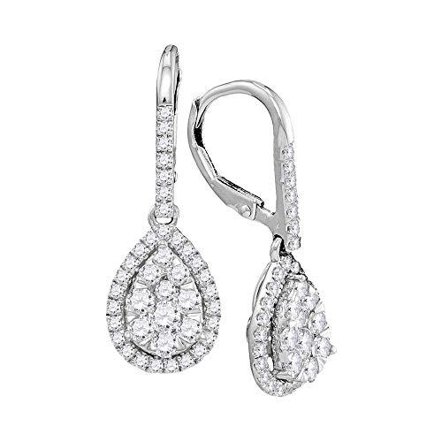 14kt oro bianco donna rotonda diamante Leverback orecchini pendenti a goccia 1–3/8Cttw