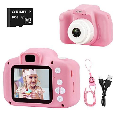 ASIUR Cámara Digital para niños Juguetes Cámara de Fotos para niños pequeños Pantalla HD de 2 Pulgadas Cámara de Video 1080P Regalos para niños y niñas de 3 a 8 años (Rose)