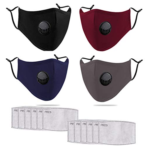 Irontria 4 Stück Baumwolle-Gesichtsschutz-Mundschutz Waschbar, Verstellbar, mit Atemventil und 12 Stück 5-lagiger Aktivkohlefilter für Anti-Staub, Dunst, Gesicht Gesundheit, Versand aus Deutschland