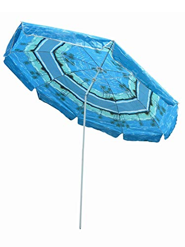 Seruna SO28/00 Sonnenschirm-e Ø 220cm, blau-er Balkon-Schirm UV Sonnen-Schutz Terrasse-n Strand Garten-Möbel UV- und Sicht-Schutz im Sommer