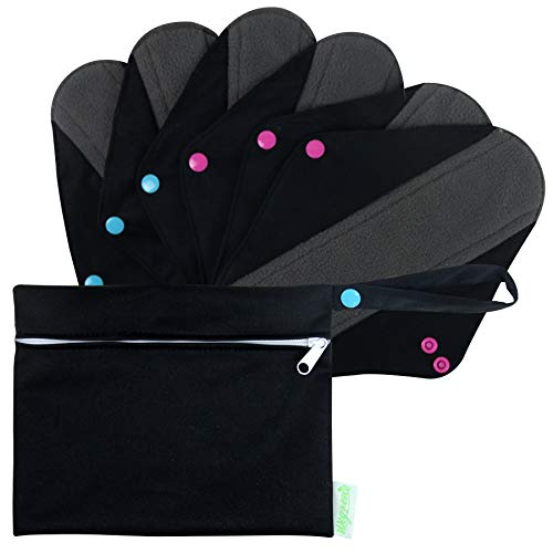 Wegreeco Bamboo Reusable Sanitary Pads (Stylish Pattern) - Cloth Sanitary Pads | Light Incontinence Pads | Reusable Menstrual Pads - 6 Pack Pads, 1 Cloth Mini Wet Bag Bonus (Large, Black)