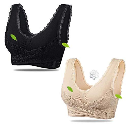 Adayn 2 PCS Instacomfort Wireless Lace Lift Bra Back Support,Easy Comfort Bra Front Buckle Seamless Anti-Sagging Sports Yoga Bralette Sleep Bras Wide Straps (Black+Beige, XL)