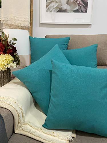 Pack 4 fundas de cojines para sofá EFECTO LINO suave, 16 COLORES fundas para almohada sin relleno, cojín decorativo grande para cama, salón. Almohadón elegante en varios tamaños.(Verde Agua, 45x45cm)