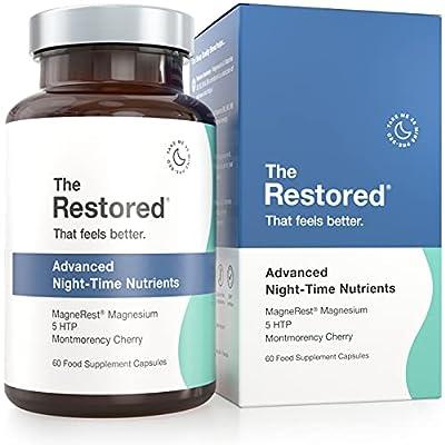The Restored Sleep Aid, 5HTP, Natural Sources of Melatonin, Magnesium, Montmorency Cherry, Chamomile, 60 Capsules