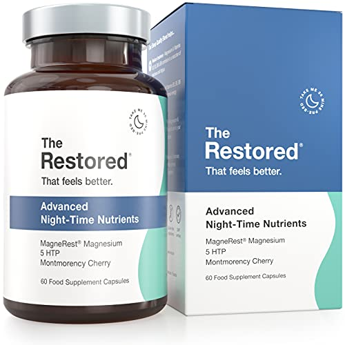 The Restored Sleep Aid, 5HTP, Natural Sources of Melatonin, Magnesium, Montmorency Cherry, Chamomile, 60 Capsules