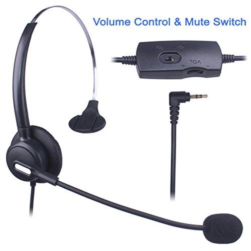 Auriculares Teléfono Fijo 2,5 mm Mono, Cancelación de Ruido Micrófono, Control de Volumen, Cascos Teléfono inalámbrico para Panasonic Polycom Grandstream Gigaset Cisco Linksys SPA Zultys(X103VP)