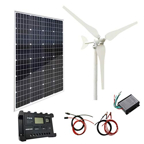 Auecor 200 W Solar-Wind-Hybrid-System-Kit: 100 W Windturbinen-Generator + 100 W Mono-Solarpanel + Zubehör für Wohnmobil, Camping, Boot, Wohnwagen, Wohnmobil