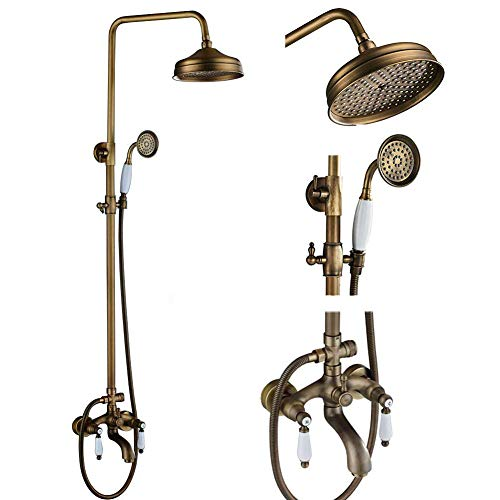 Votamuta NEW Bathroom Rain Shower Faucet with Hand Sprayer and Tub Spout, 3 Way Shower Mixer Tap Antique Brass Finish