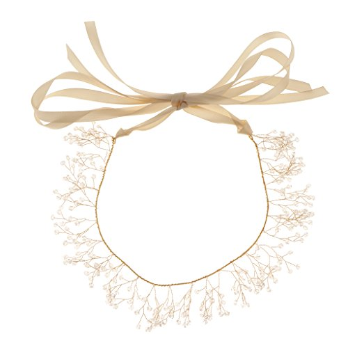 SM SunniMix Elegante Haarkette Flechtfrisur Hochzeit Perlen Haarschmuck Kette Haar Reben Haarband Braut Diadem Haargesteck
