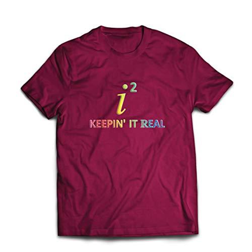 lepni.me Männer T-Shirt i2 Keep It Real Mathematics Nerd-Mathe-Witz-Outfit (Medium Burgund Mehrfarben)