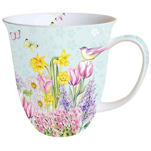 Porzellantasse Blooming Garden Tourquise Blumen Garten Becher Bone China 0,4l Kaffeebecher Henkelbecher